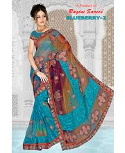 Heavy Net Cut Paste Designer With Blouse By Ragini Sarees - Blueberry2, Multicolor