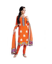 Hypnotex Pure Banarasi Jacquard Designer Dress Material Benares803, Orange