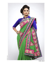 Heavy Pitta Work With Jari & Ready Lace Saree - 243_ C, Green