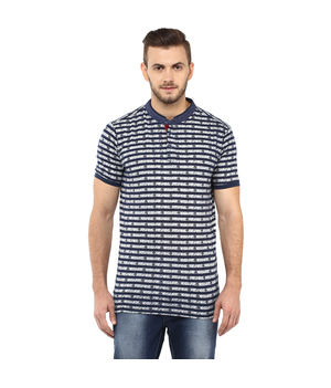 Stripe Stand Collar T Shirt, s,  blue