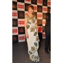 Madhuri Dixit Amul Food Food Mahachallenge off white saree by Vamika, off white