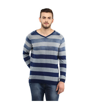 Light Knit Wear V Neck T Shirt,  blue-grey, l