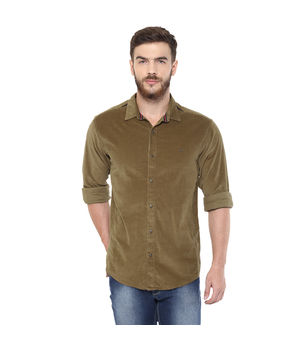 Solid Regular Slim Fit Shirt, m,  khaki