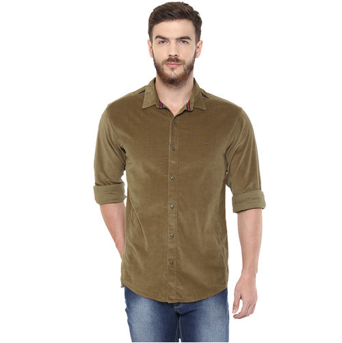 Solid Regular Slim Fit Shirt,  khaki, m
