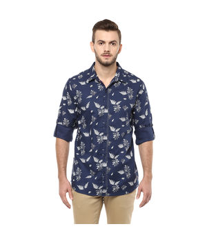 Printed Regular Slim Fit Shirt, m,  navy blue