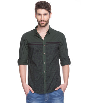 Solid Regular Slim Fit Shirt, s,  bottle green