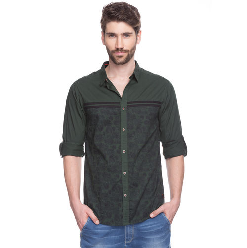 Solid Regular Slim Fit Shirt, xxl,  bottle green