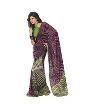 Fabdeal Women Purple Faux Georgette Saree, purple