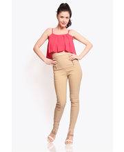 Miss Chase Retro High Waist Jeggings (MCSS13BT02-03-30), Beige, M