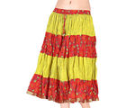 Ethnic Yellow and Orange Cotton Short Skirt -185 (Multicolor)