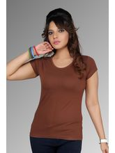 Clifton Women Plain Solid Brown T-Shirt, Brown, S