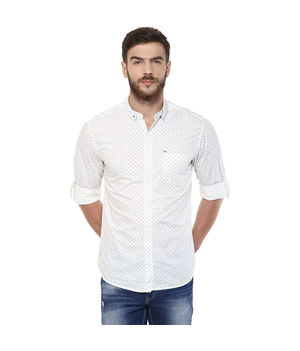 Printed Stand Collar T shirt, m,  white