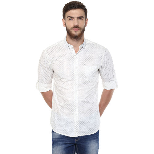 Printed Stand Collar T shirt,  white, m
