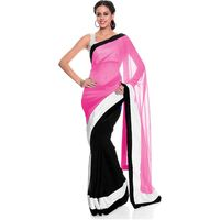Vamika Georgette Women's Saree, pink and black