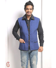 Azure Blue Cotton Quilted Reversible Jaipuri Jacket (Multicolor, L)