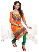 7 Colors Lifestyle Embroidered Banarasi Silk Unstitched Dress Material - AAZDR1605SOA3, orange