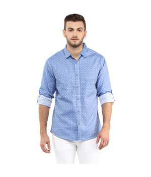 Printed Regular Slim Fit Shirt, s,  blue
