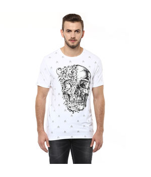 Printed Round Neck T shirt, m,  white
