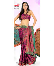 Jacquard Saree With Banarasi Border By Ragini Sarees - 1166(C), Multicolor