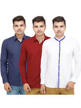 VMENZ Set Of 3 Designer Casual Shirts For Men, multicolor, l