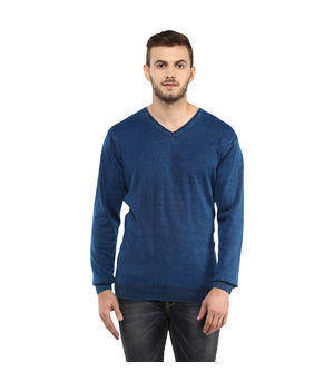 Solid V Neck T-Shirt, l,  indigo blue