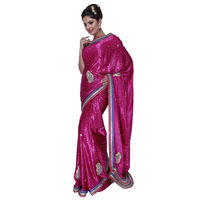 Fav Diva Jacquard Crepe Patch Work Saree, multicolor