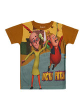 Motu Patlu Boy's Printed Tshirt, 11 12 years, lemon green