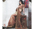 Women Net Brown Saree (Brown)