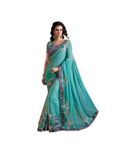 Shonaya Net Patch Work Saree With Embrodery Unstitched Blouse Piece, sky blue