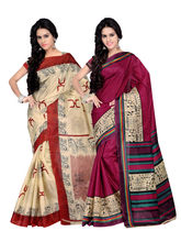 Pikasho Combo of 2 Printed Silk Sarees, design1