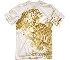 Majestic Tiger Mens Tee - Organic Cotton (White, L)