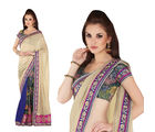 Hypnotex Art Silk+ Faux georgette Designer Saree - Gap1506, cream