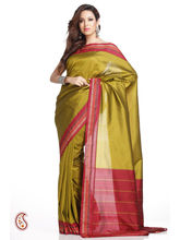 Sublime Olive Green Art Silk Saree With Red Border, Multicolor