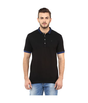 Solid Polo T Shirt, s,  black