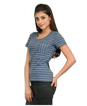Yepme Olivia Stylish Stripes Top YPMTOPS0154, Grey, M