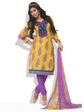 SHAH WAH Vibrant Ethnic Ready To Stitch Suit, yellow, fs