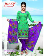 Dress Material With Cotton Mix Thread Work Dupatta By Ragini Sarees - 709, Multicolor