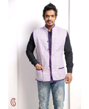 Blue Wave Block Print Quilted Cotton Jaipuri Jacket (Multicolor, L)