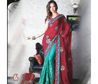 Women Jacquard,Georgette Multicolor Saree (Multicolor)
