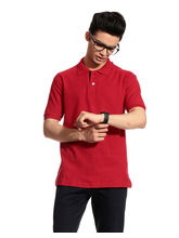 Brohood Honey Comb Men Polo Neck T-Shirt - BHT6001, l, red