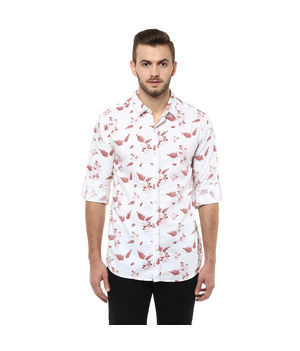 Printed Regular Slim Fit Shirt, xl,  white