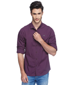 Solid Slim Fit Shirt, l,  wine