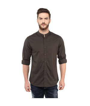 Solid Stand Collar Shirt, s,  olive