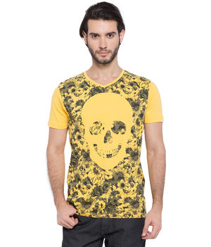 Printed V-Neck T-Shirt, s,  yellow