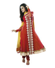 Fabdeal Net Unstitched Salwar Suit (EOEDR9614SWGT), Red