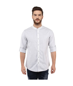 Solid Stand Collar Shirt, l,  light grey