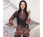 Polka Dots And Floral Design Embroidered Kurti, black, s