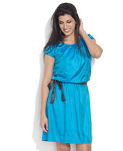 Color Cocktail Glossy Dress With Bow, teal, m