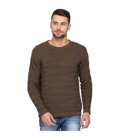 Solid Round Neck Sweater,  olive, l