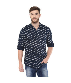Printed Regular Slim Fit Shirt,  blue, l